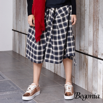 Begonia 棉麻格紋抽繩鬆緊寬褲(藍格)