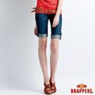 BRAPPERS 女款 新美腳 Royal 系列-女用彈性五分反摺褲-藍