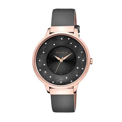 ELIXA瑞士精品手錶 Finesse晶鑽錶面簡約刻度皮革系列 經典黑38mm
