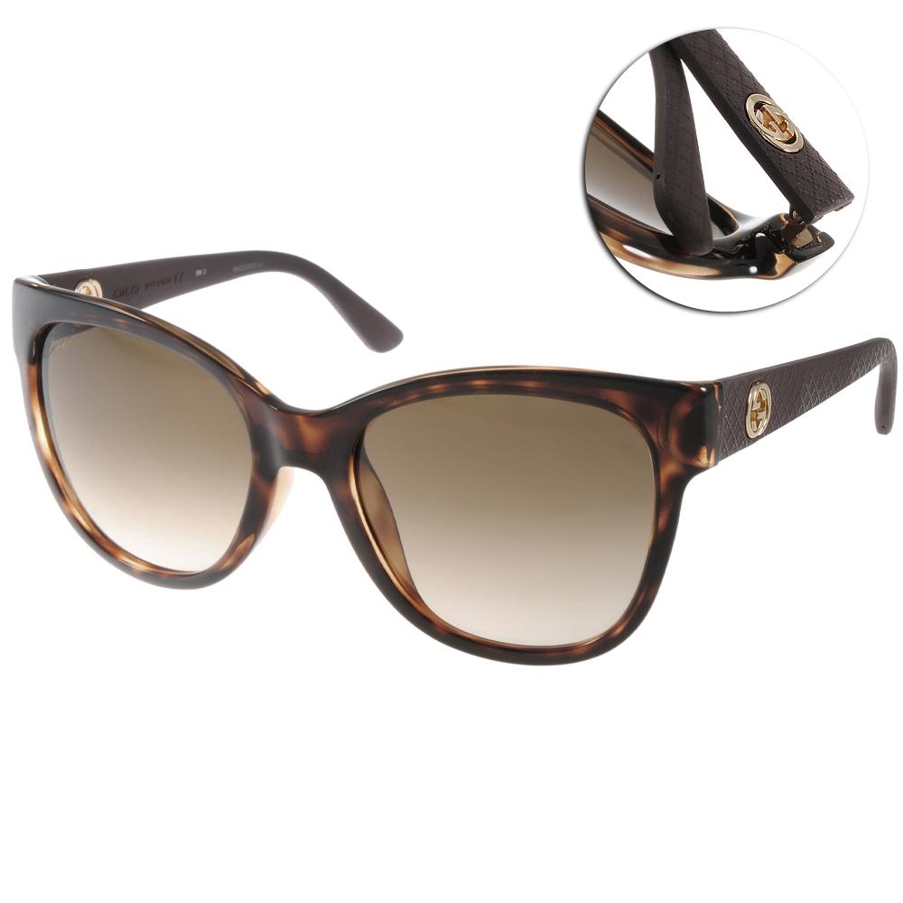 GUCCI太陽眼鏡 貓眼LOGO款/琥珀棕#GG3795FS LWF