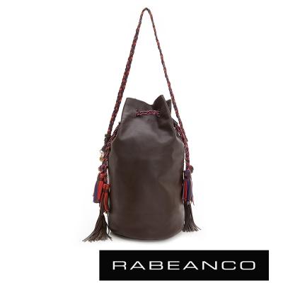 RABEANCO-流蘇抽繩牛皮水桶包-深咖