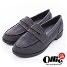 Ollie韓國空運-正韓製絨質素面低跟紳士樂福鞋-灰