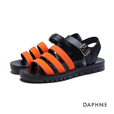 達芙妮DAPHNE 涼鞋-三層條帶按摩顆粒撞色平底涼鞋-桔紅