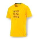 PUMA 男性慢跑系列PWRCOOL字樣短袖T恤-艷黃