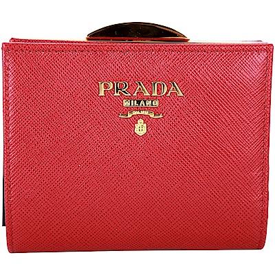 PRADA Saffiano 復古釦防刮牛皮釦式短夾(紅色)
