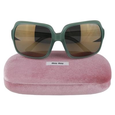 MIU MIU 品牌字樣邊緣印字方型微透明邊框太陽眼鏡(綠)
