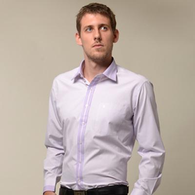 金-安德森-粉紫色變化領窄版長袖襯衫