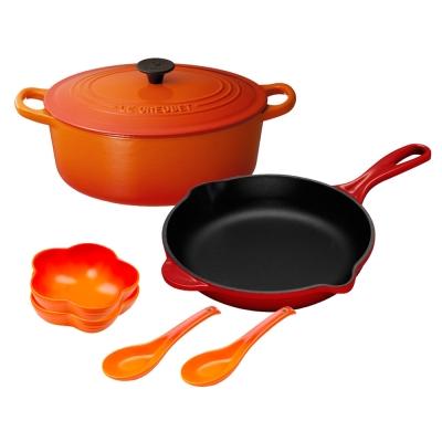LE-CREUSET-橢圓鐵鍋-23cm-單柄圓鐵煎盤-23cm-花型盤-附中式湯匙-2入