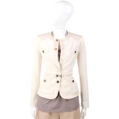 ELISABETTA FRANCHI 米色排釦設計外套