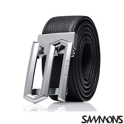 SAMMONS-真皮賈斯丁造型皮帶-個性黑