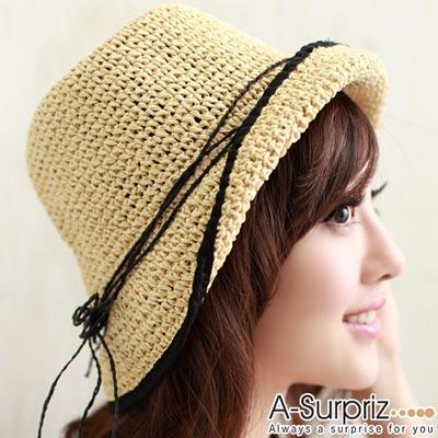 A-Surpriz 休閒風情麻編遮陽帽(米黃)