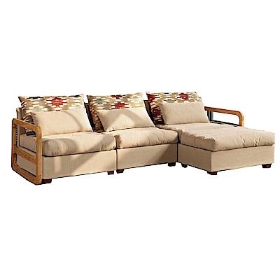 品家居 賽維爾絲絨布實木L型沙發(三人+凳)-234x151x67-免組