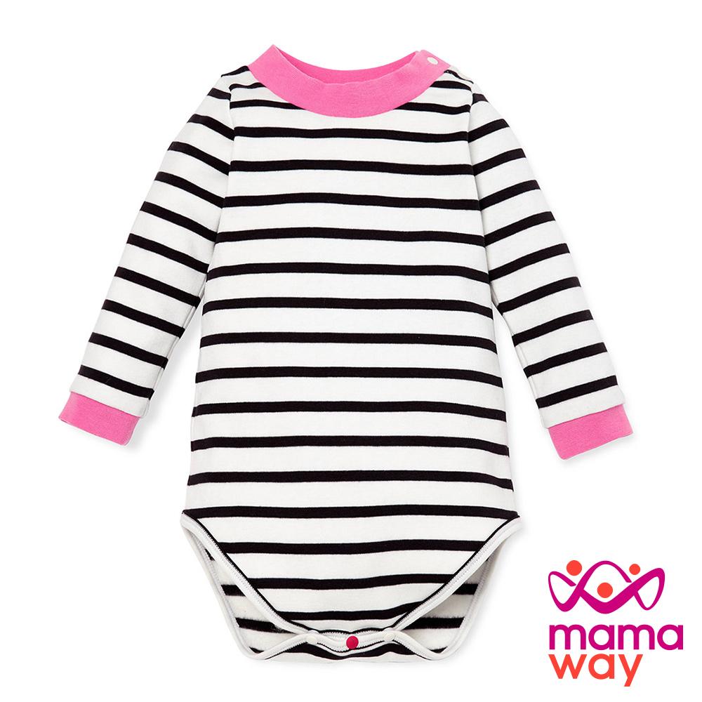 長袖包屁衣 Baby橫紋配色小高領包屁衣(共二色) Mamaway