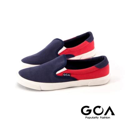 GOA帆布拼接慵懶休閒鞋-藍紅