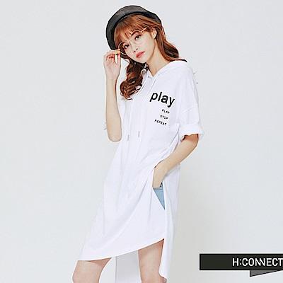 H:CONNECT 韓國品牌 女裝-PLAY 連身帽T-白
