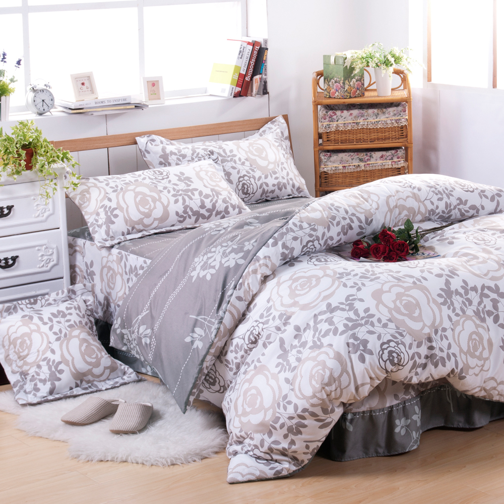 沙比瑞爾Saebi-Rer-玫瑰晨光 台灣製活性柔絲絨雙人六件式床罩組
