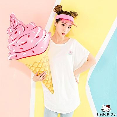 HELLO KITTY夏日西瓜燙印連袖長版上衣.3色-OB大尺碼