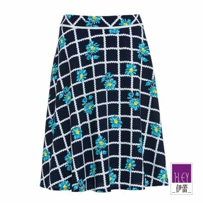 ILEY伊蕾 藍底白格小雛菊傘裙(藍)