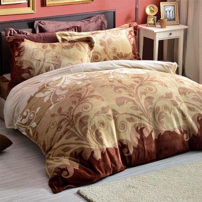 AmoreCasa 摩卡韻味 頂級法蘭絨雙人舖棉床包被套組