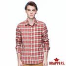 BRAPPERS 男款 單口袋長袖格紋襯衫-桔