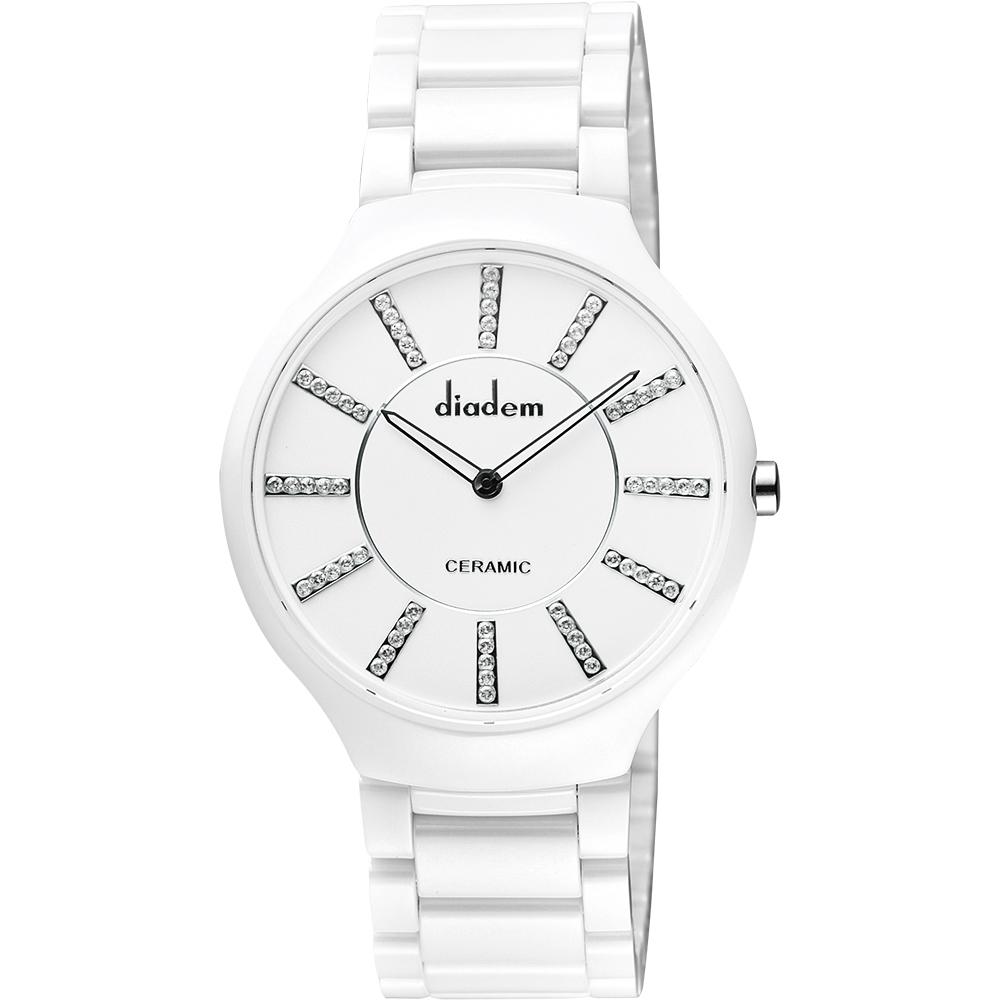 Diadem 黛亞登邱比特傳愛系列陶瓷腕錶-白/水鑽標/38mm