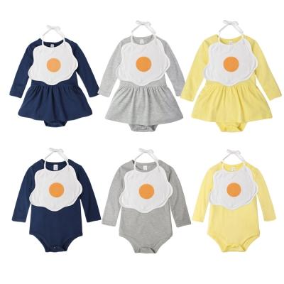 baby童衣 連身衣 荷包蛋圍兜長袖連身裙 套組 60302