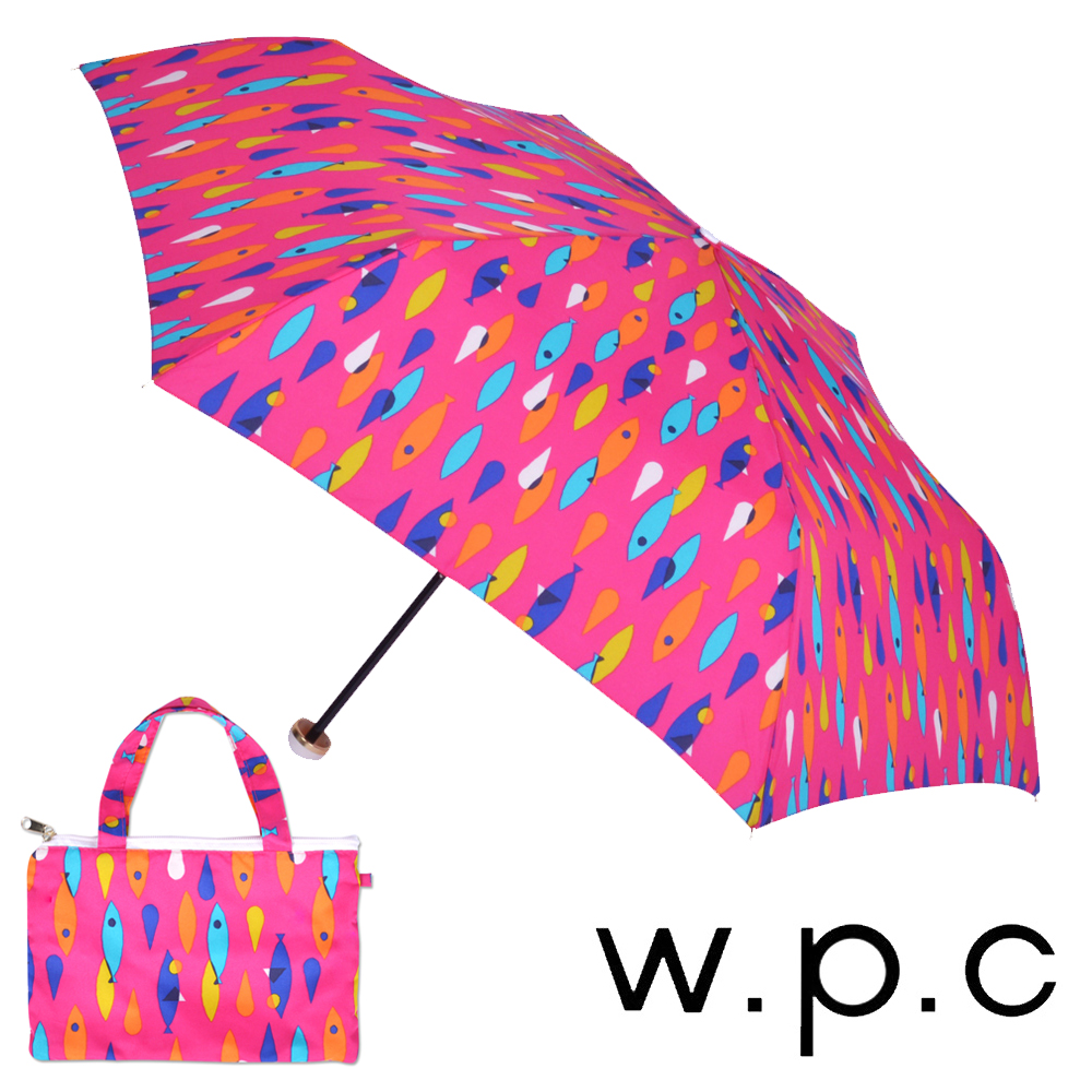 w.p.c 煥彩魚點*晴雨兩用輕量防風手開三摺傘 (桃紅)