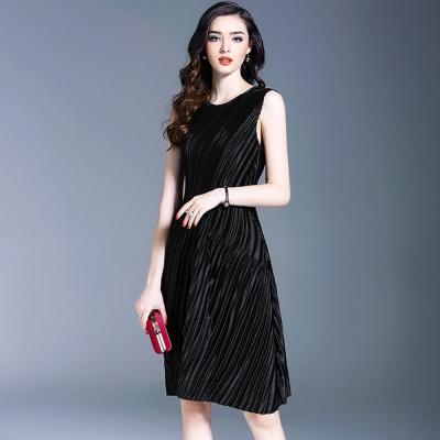 歐美優雅氣質壓摺背心連身裙-糖潮