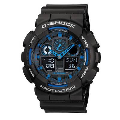 G-SHOCK 個性重型機械感Man運動錶(GA- 100 - 1 A 2 )-黑x藍/ 51 . 2 mm