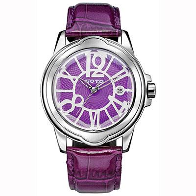 GOTO Romance時尚腕錶-紫/43mm