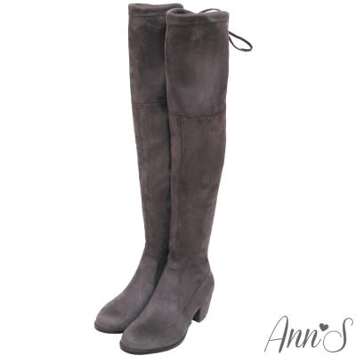 Ann'S纖瘦名模-絨質後蝴蝶結側拉鍊貼腿過膝靴-灰