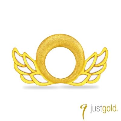 鎮金店Just Gold 黃金單耳耳環-天使魔鬼(天使)