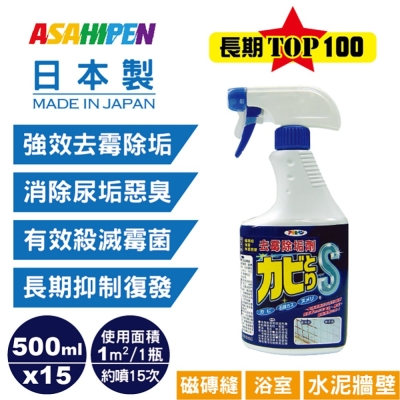 磁磚縫/浴室/水泥牆壁用去霉除垢劑 500ml*15入