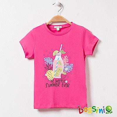 bossini女童-印花短袖T恤26玫瑰色