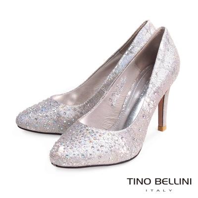Tino-Bellini-夢幻浪漫蕾絲璀璨亮鑽新娘鞋-粉