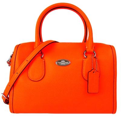 COACH 橢圓標LOGO防刮皮革手提/側背波士頓包(螢光橘)