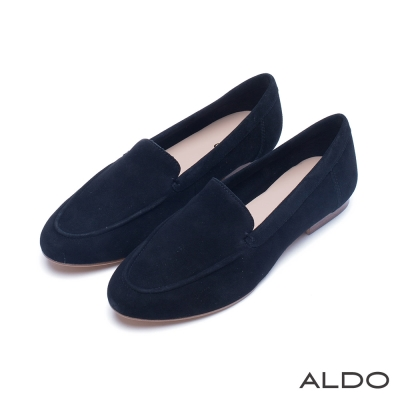 ALDO 原色真皮鞋面尖頭樂福鞋~尊爵黑色