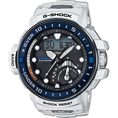 CASIO卡西歐 G-SHOCK MASTER 海軍進階版太陽能電波手錶-白/57.3mm