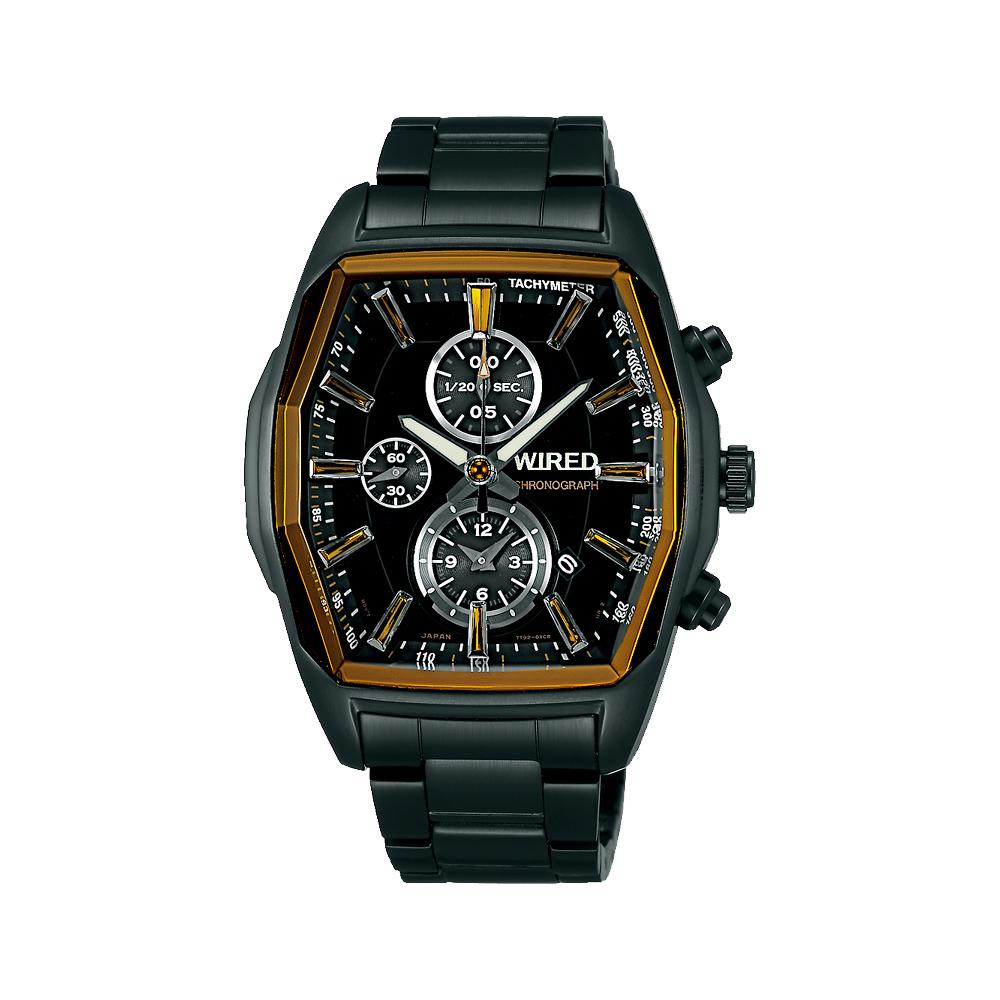 WIRED 馴龍騎士三眼計時腕錶(AF8T37X1)-IP黑/40mm