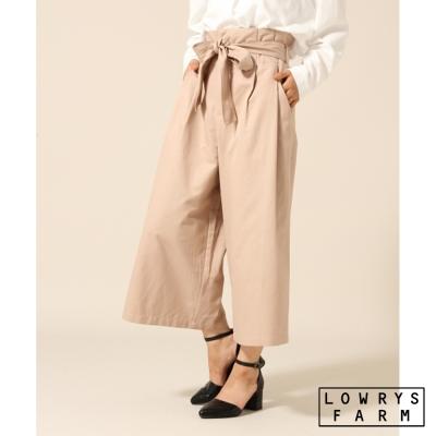 LOWRYS-FARM蝴蝶結綁帶扇形高腰純棉九分寬褲-三色