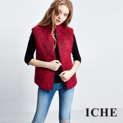 ICHE衣哲-羊毛高領開襟罩衫背心