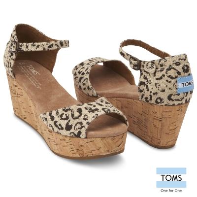 TOMS 豹紋魚口楔型鞋-女款(豹紋)