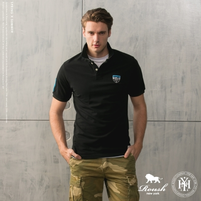 ROUSH-三色領片盾牌貼布短袖polo衫(4色)