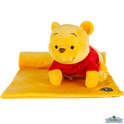 Zoobies 迪士尼Disney 維尼款 玩偶抱毯/嬰兒毯/毛毯 彌月禮盒