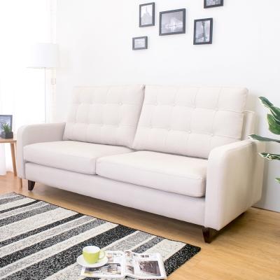 Boden 帕得米色貓抓布紋皮沙發三人椅/三人座