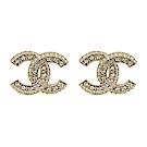 CHANEL香奈兒 經典雙C LOGO 鑲嵌水鑽線條壓紋金色耳環