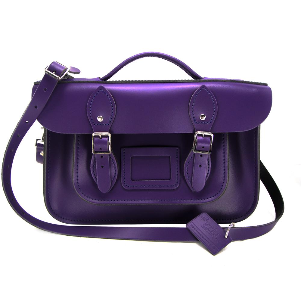 The Leather Satchel 英國手工牛皮劍橋包 肩背手提包 舞夜紫 12.5吋