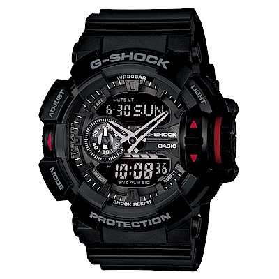 G-SHOCK亮彩新色街頭時尚新層次雙顯運動錶(GA-400-1B)-全黑/51.9mm