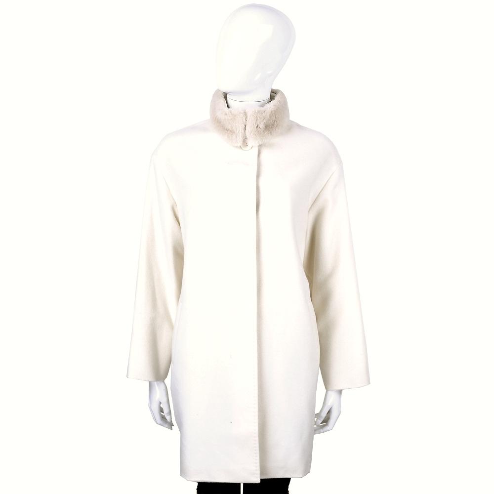 Max Mara 米色毛領設計羊毛大衣