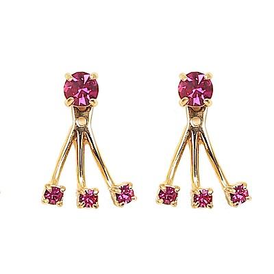 KATE SPADE 扇型彩鑽耳針式耳環(紫紅)